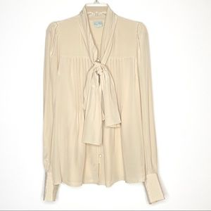 Tracy Reese Bow Silk Blouse in Cream Size S/M